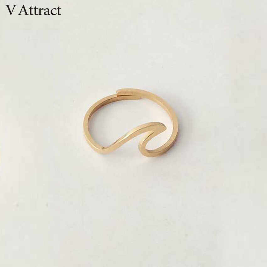 V Attract Stainless Steel Jewelry Accessries Gold Color Anel Fashion Sculpture Statement Sea Wave Ring For Women Men