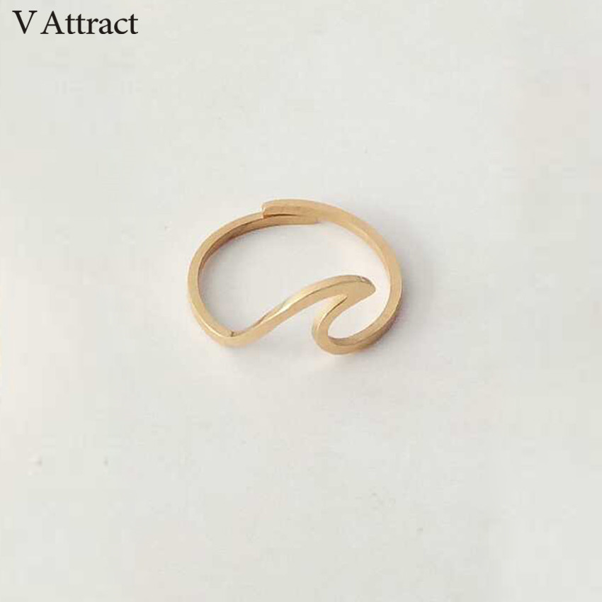 Rings Martick Europe Brand Simple Style Rose Gold Color Rings Wave Shape For Woman Jewelry R233