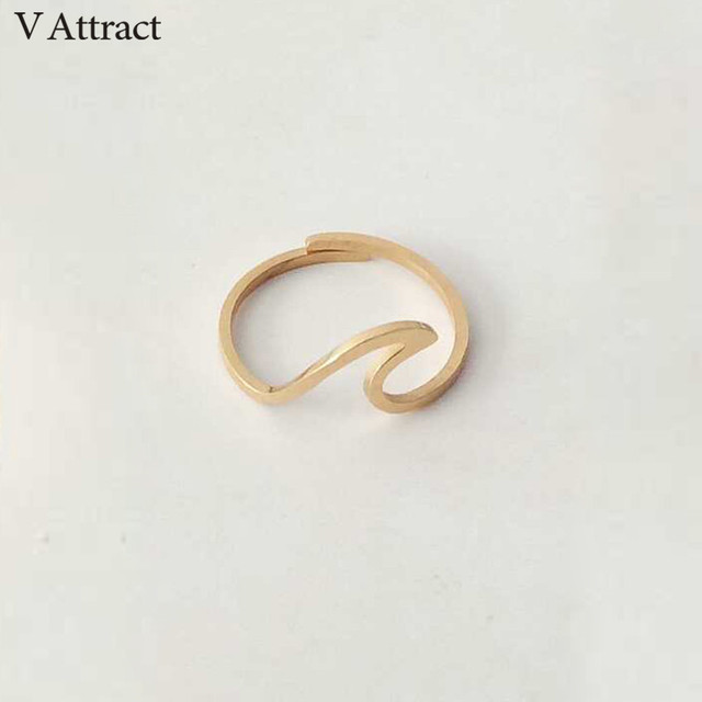 V Attract Stainless Steel Jewelry Accessries Rose Gold Anel Fashion Wedding Gift