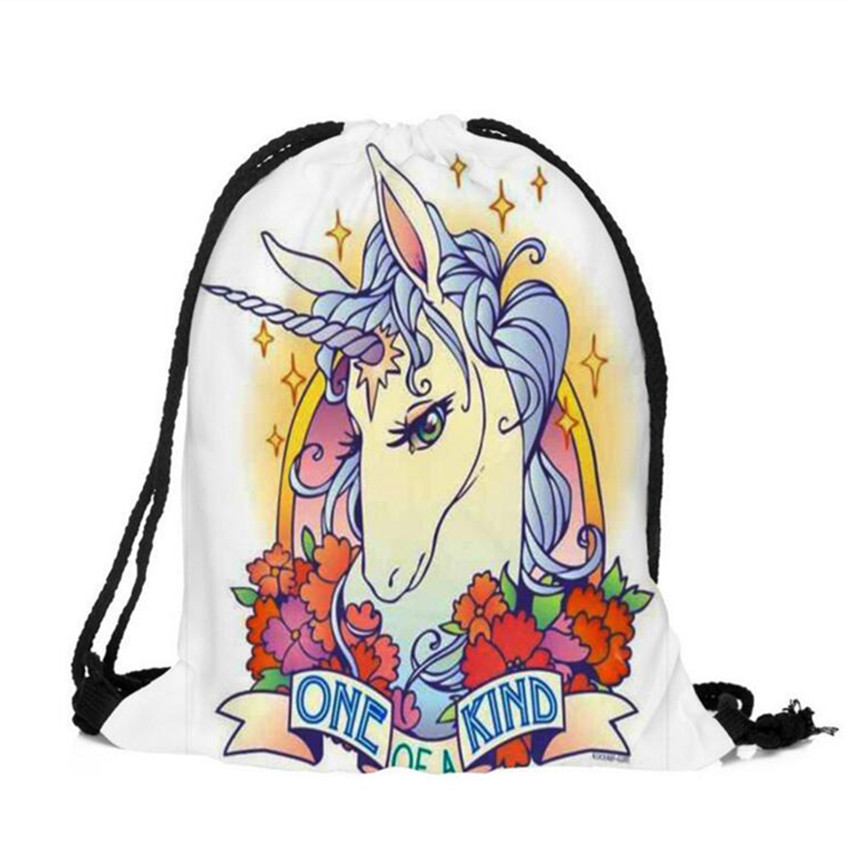M470 2017 3D Digital Print Cartoon Unicorn Bag Drawstring Backpack Monolayer Thin Section Rope Rope Strap Opening Small Size plus size drawstring hoodie with christmas decoration print