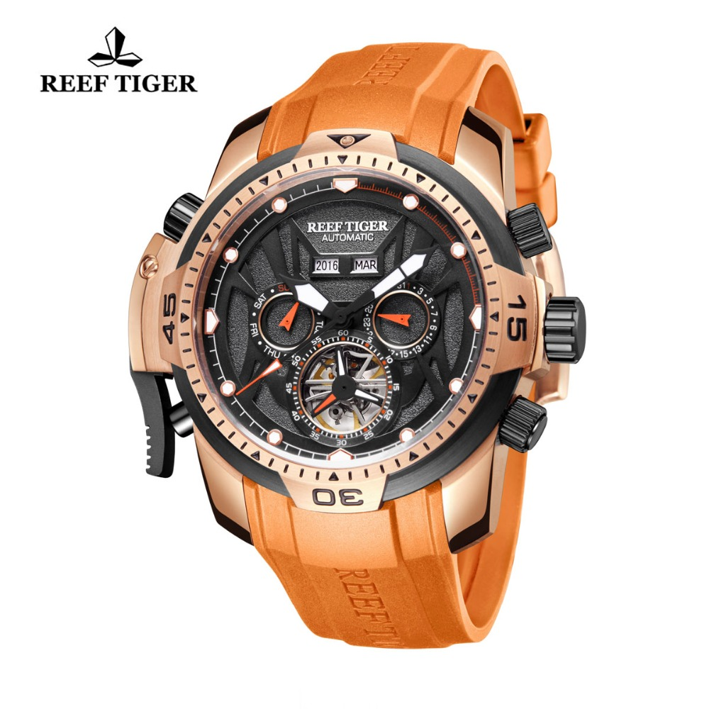 Reef TigerRT Orange Sport Watch Men Waterproof Luminous