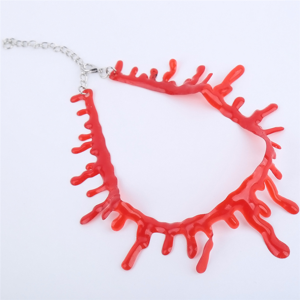 dfdda2aca1c23 Halloween Decoration Horror Blood Drip Necklace Fake Blood Vampire Fancy  Joker Choker Costume Red Necklaces Party Accessories