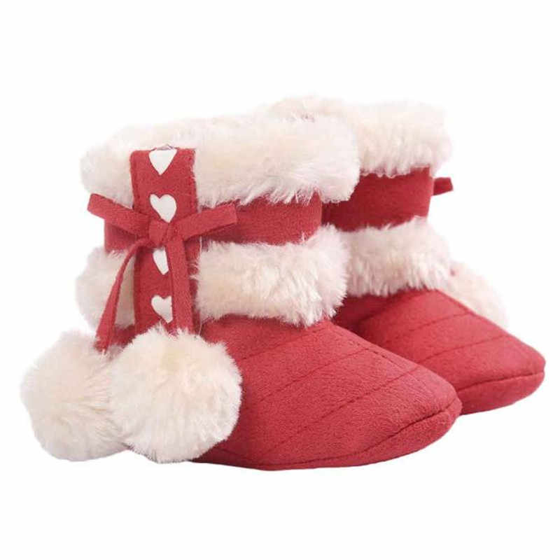 Baby Soft Sole Snow Boots Soft Crib Shoes Toddler Boots Cute Snow Cotton Warm hoes For Girl Anti-slip Booties Cloth Cotton