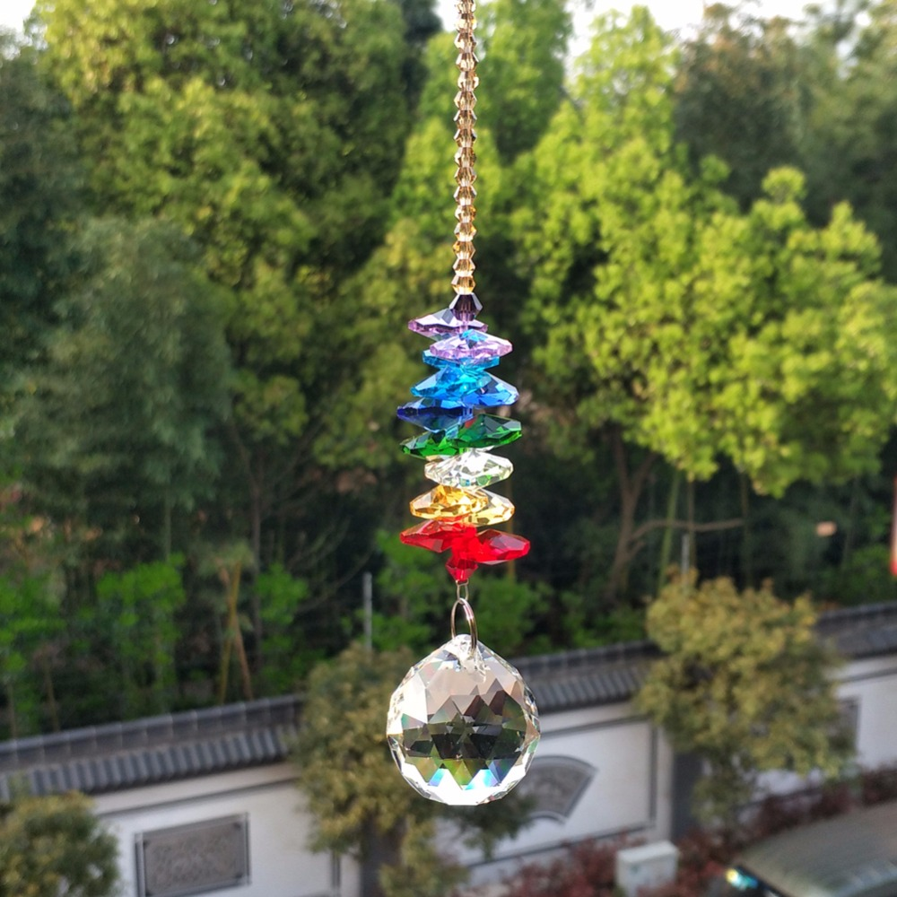 Handcrafted Rainbow Acrylic Crystal Beads Garland With Glass Crystal Ball DIY Craft Supply Chandelier Center Part Decoration