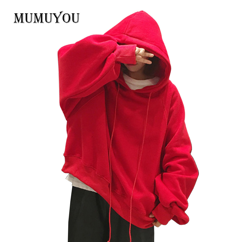 Women Ladies Loose Baggy Pullover Sweatshirt Puff Sleeve Hooded Oversized Top Casual Fashion Red Black Yellow New 904-A015