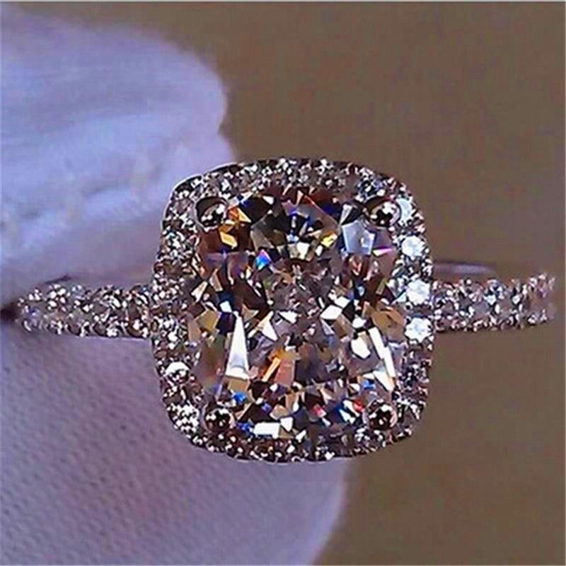 2019 Luxury Female Girl Big Crystal Cz Stone Ring 925 Silver White