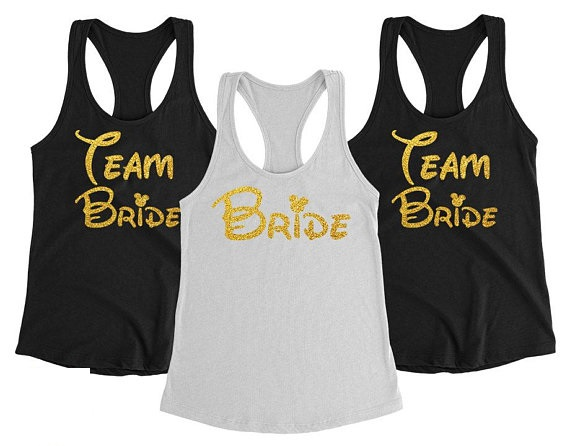 cf62735ed20 personalize gold glitter Bridesmaid Team Bride Tanks tops tees Hen night  Bachelorette bridal shower t Shirts Party favors