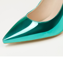 2018 Fashion Women 10cm High Heels Leather Bright Green Fetish Pumps Female Quality Scarpin Office Lady Sexy Valentine Shoes