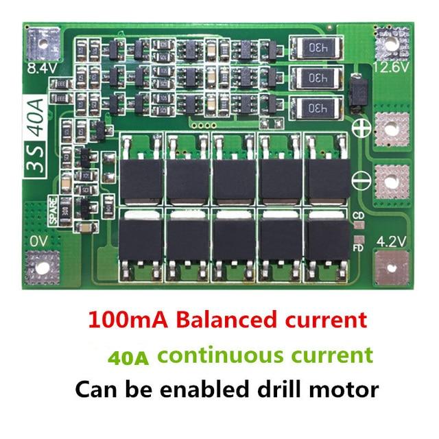 3 S 40A Li-ion chargeur de batterie au Lithium Module de cellule Lipo PCB BMS panneau de Protection pour moteur de forage 12.6 V avec équilibre