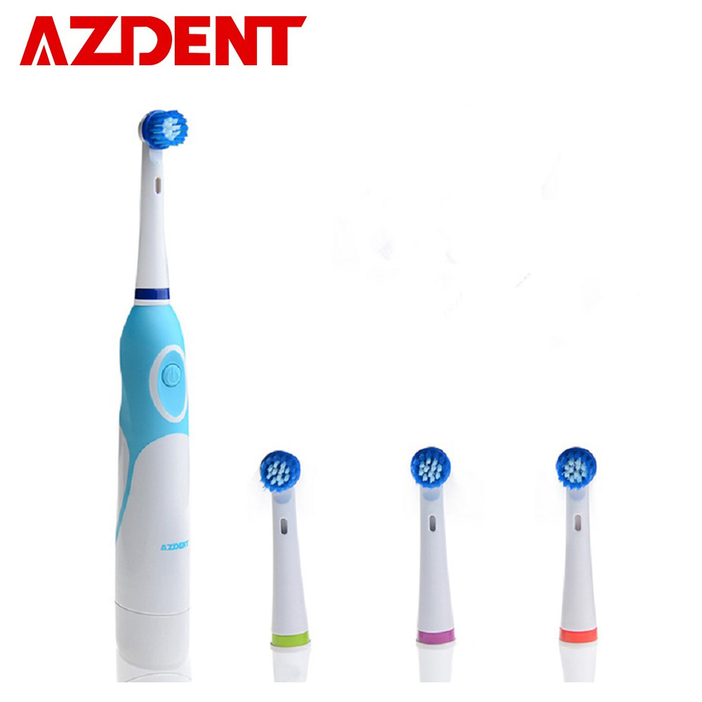 AZDENT AZ-OC2 Rotating Electric Toothbrush with 4 Replacement Head Battery Operated Teeth Tooth Brush No Rechargeable for Adults Зубная щётка