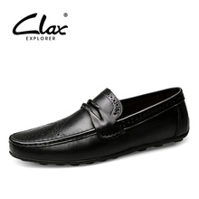 CLAX Mens Leather Shoes Slip on 2019 Spring Summer Casual Loafers Male Boat Shoe Genuine Leather Moccasins Breathable Big Size все цены