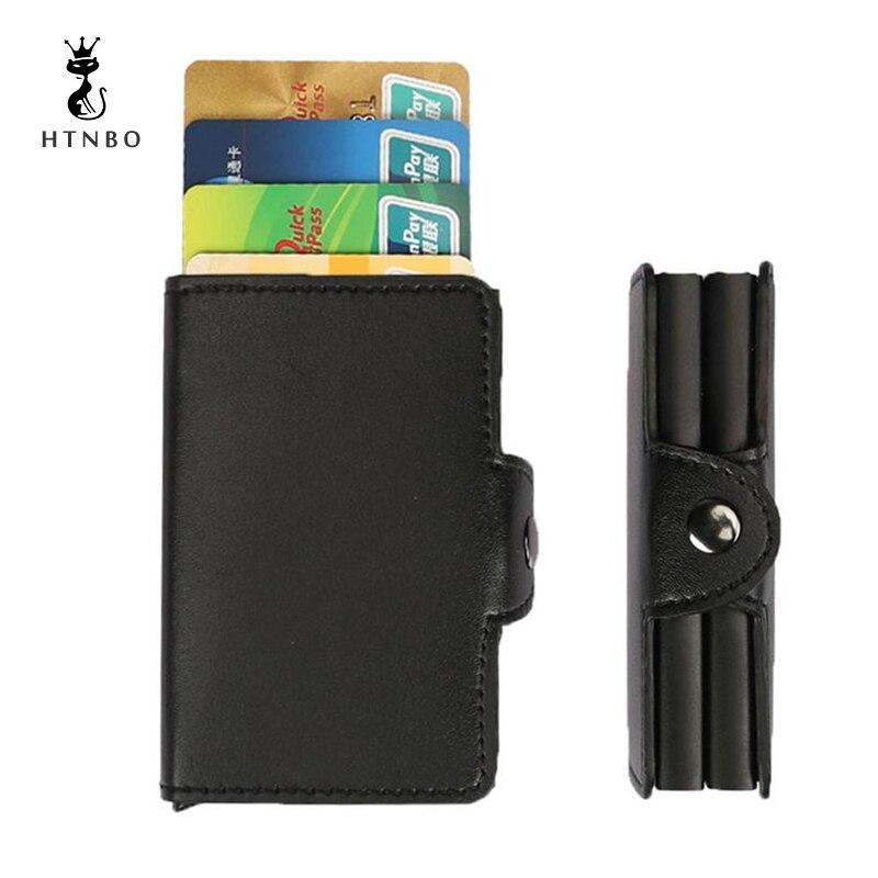 Metal Men Card Holder Aluminium Alloy Credit Card Holder PU Leather Wallet Antitheft Men Wallets Automatic Pop Up Card Case 2018