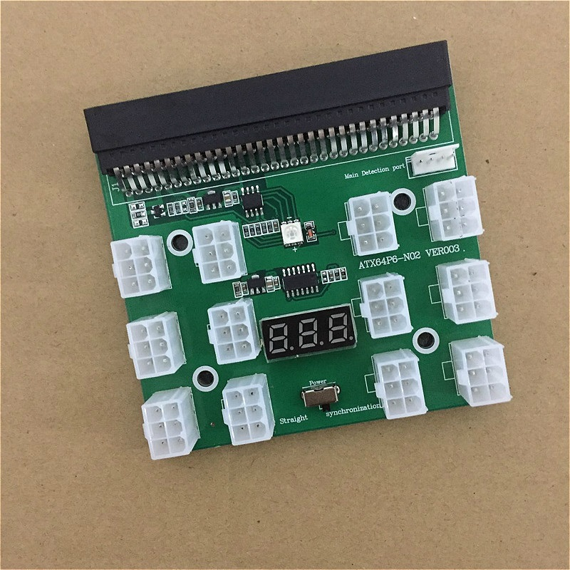1PCS Server Power Conversion Board 12Slot 6Pin Power Module Breakout Board Graphics Power Supply for RC Model Ethereum Miner