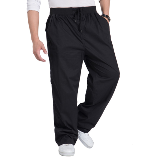 2015 Men's Cargo Pants Big Sizes Loose Casual Full Pants For Men Winter Solid Fashion Pants Elastic Waist High Quality