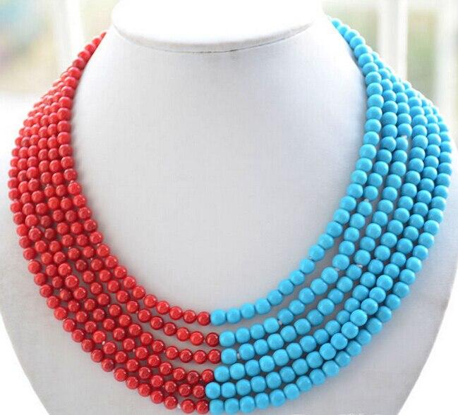 LIVRAISON GRATUITE >>>@@ vente Chaude S>>>> 6 brins 6mm bleu turquoise rouge perle de corail collier