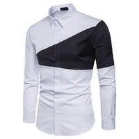 Ropa de hombre Camisa Masculina de Primavera de manga larga de negocios Triangular costura Formal de Color sólido Slim Fit camisas de vestir