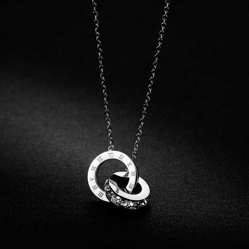Circle Necklace Woman Necklaces Jewellery Cubic Zirconia Necklaces & Pendants Silver Rose Gold Titanium Steel Necklace for Women