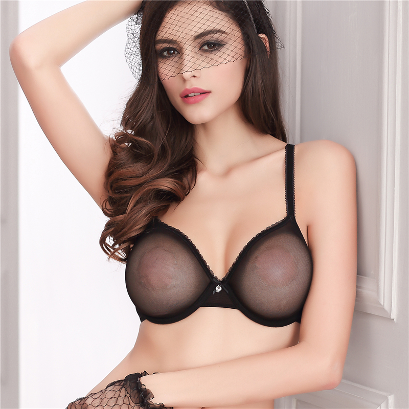 Thin Transparent Bras Unlined Bra And Thong Set Mesh Lace -3807