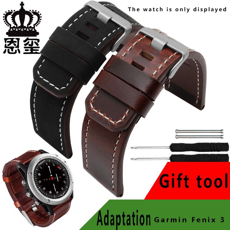 Original style quality genuine leather watch bands 26mm black brown replacement wristband deployment buckle fit Garmin Fenix 3