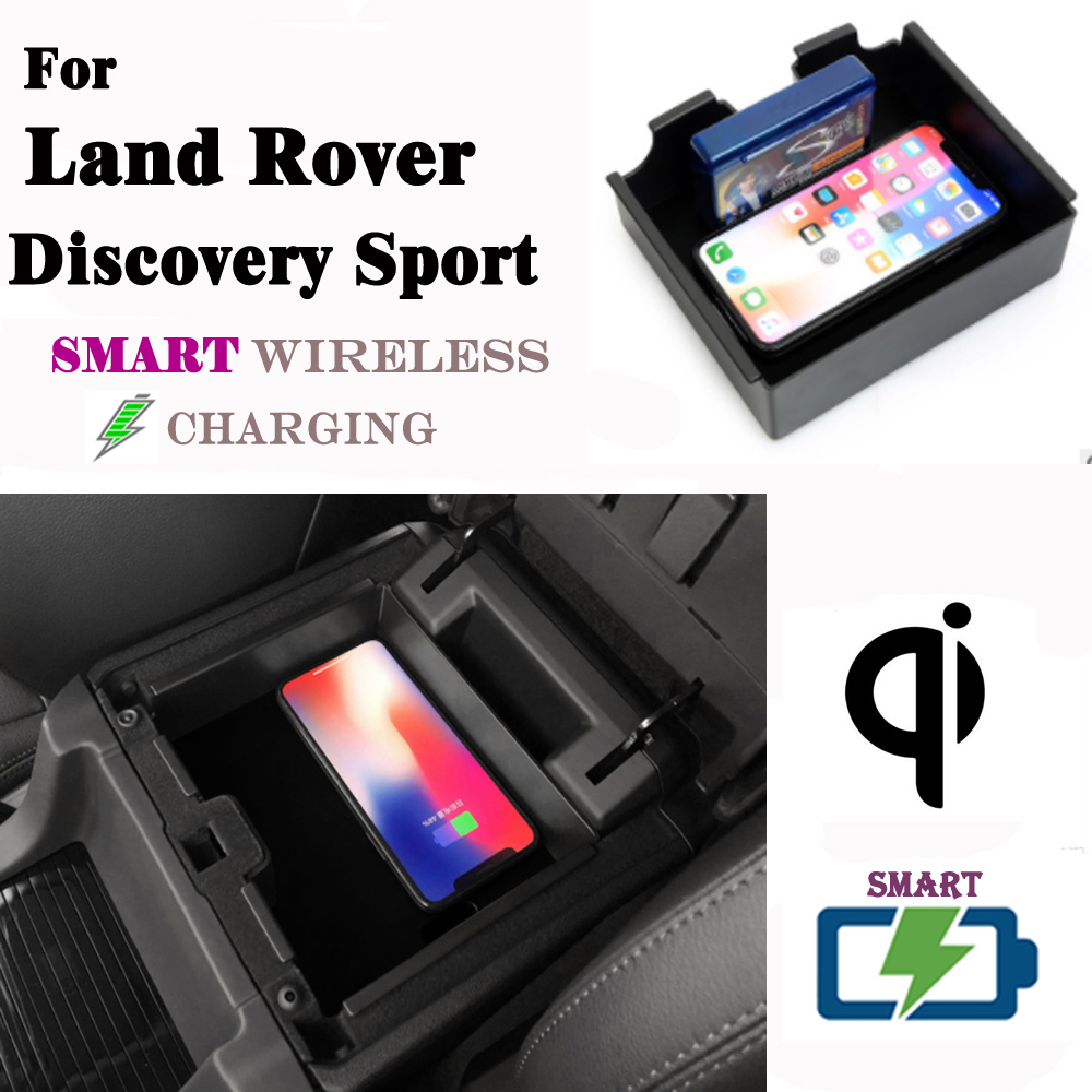 QI Wireless charger For Land Rover Discovery Sport Wireless charging Phone Holder Storage Box