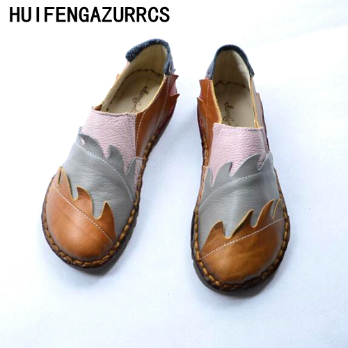 HUIFENGAZURRCS-2018 new Spring pure Handmade folk style Genuine leather female shoes,soft bottom low flat shoes casual shoes huifengazurrcs new genuine leather