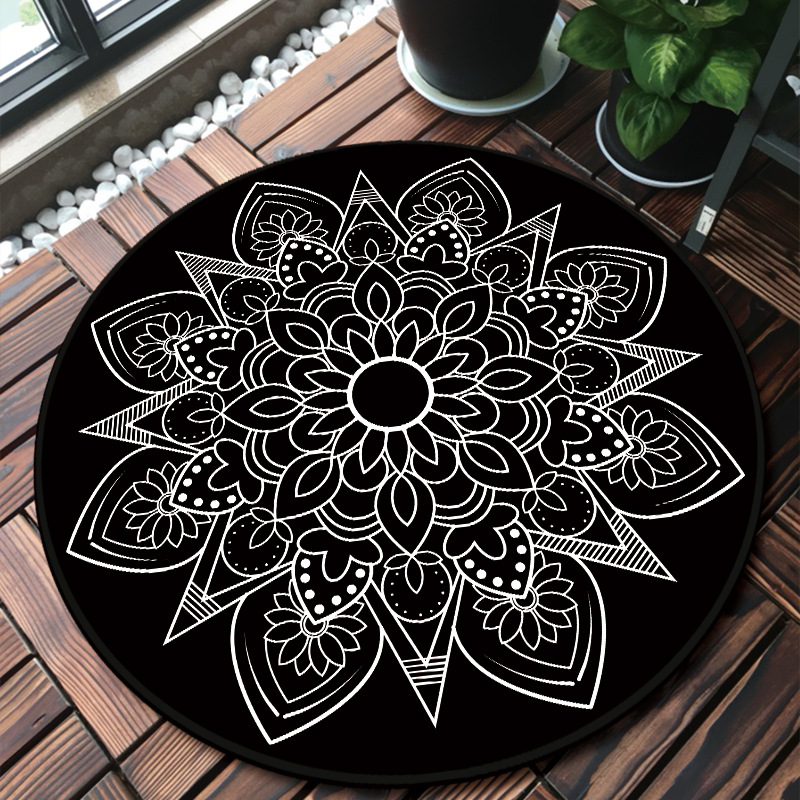 National Style Round Mandala Carpet Rugs Room Decor Play Area Rug Bedside Doormat Floor Chair Mat Large Carpets Living Room
