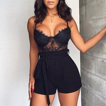 Elegant Sexy Beach Summer Party Rompers Solid Women Jumpsuits 2019 Spaghetti Strap Lace Frill Hem Casual Playsuits недорого