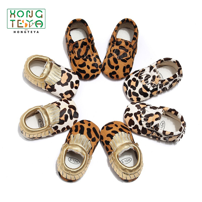 Fashion Baby Boy Girl Soft Sole Shoes Leopard Genuine Leather Fringe Slip-On   Baby Moccasins First Walkers Toddler Crib Shoes