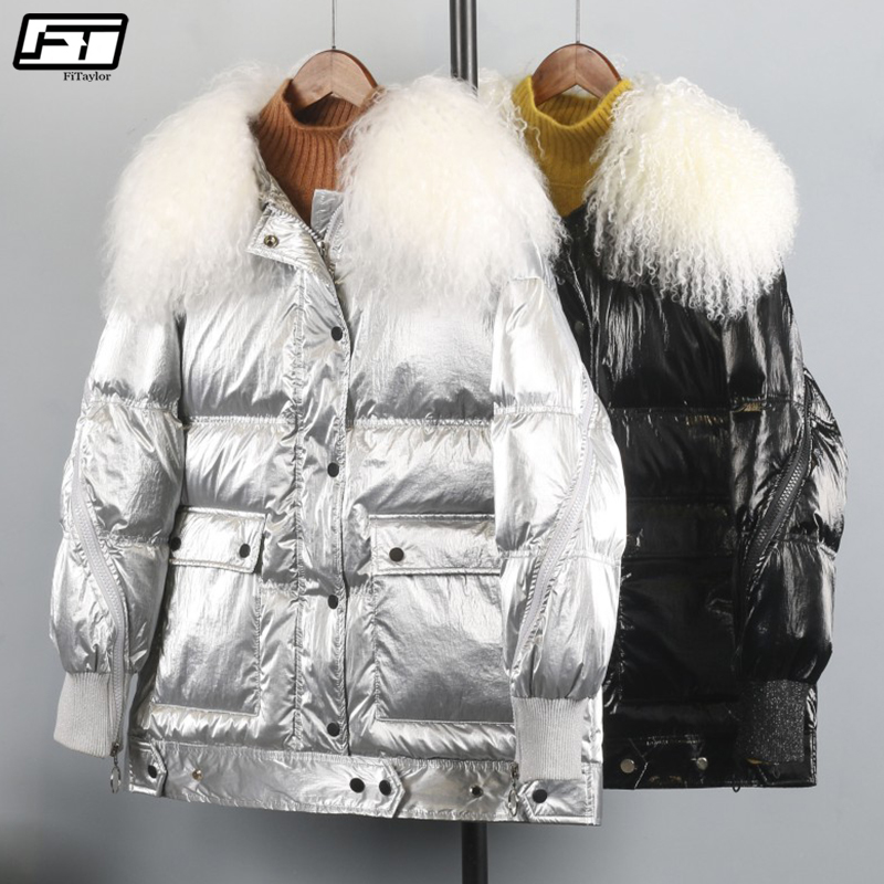 Fitaylor Winter Silver Black Duck   Coat   Women Wool Fur Collar White Duck   Down   Parkas Female Loose Waterproof Snow Outerwear