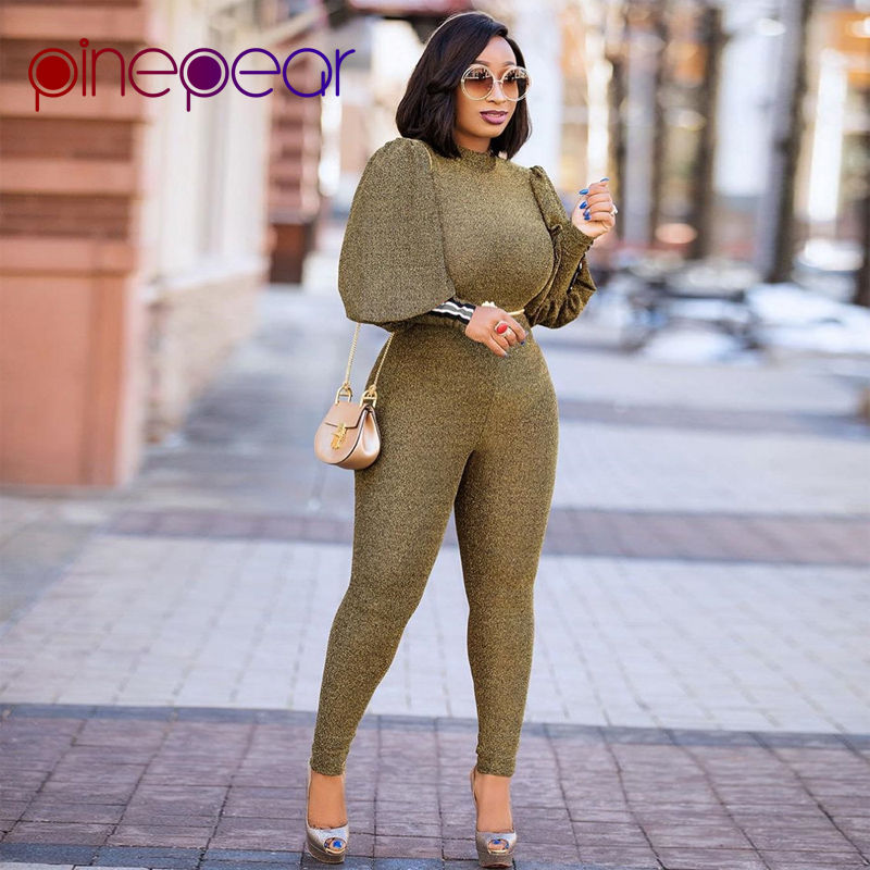 0518c00a668 PinePear Plus Size Lantern Sleeve Jumpsuit 2019 Women Long Sleeve Elegant  Romper Office Lady Formal Party High Street Overalls-in Jumpsuits from  Women s ...