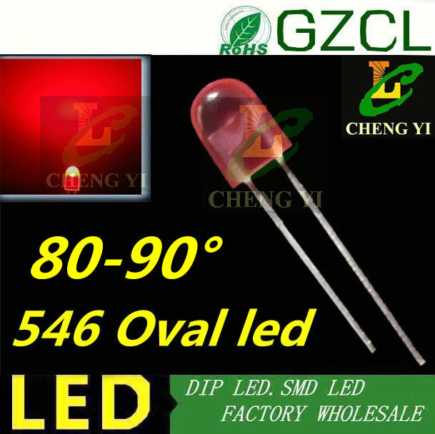 20mA RED oval 5mm led diffused 1500 2000mcd 546 led diode 620 625nm DIP LED 2
