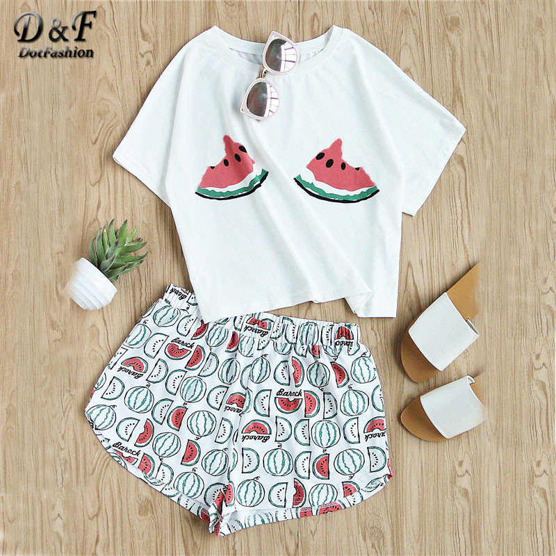 Dotfashion Boho 2 Pieces Female 2017 Summer Watermelon Print Tee And Shorts Set Suits Round Neck