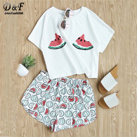 Dotfashion Print Summer Two Piece Set Women Watermelon Print Tee And Shorts Set Suits Round Neck Short Sleeve Cute Sets