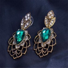 Antique Gold Green Stone Austrian Crystal Drop Earrings
