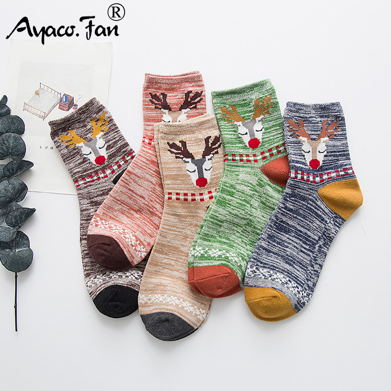 5 Pairs/Lot Women's Socks Spring Summer New Cotton Cartoon Cute Funny Happy Kawaii Socks For Girls Lady Female Christmas Gift