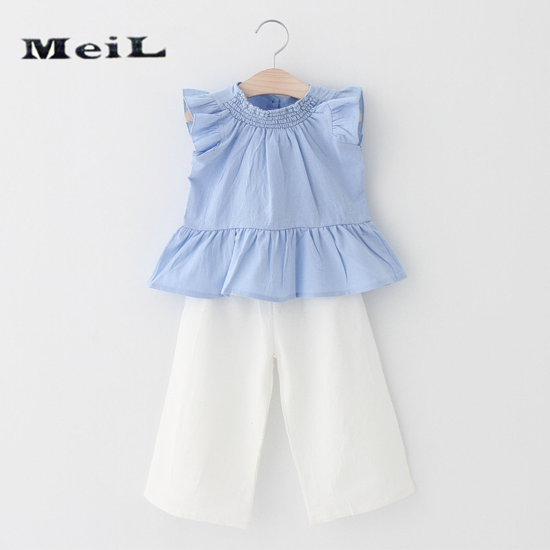 LI toy Store MEIL  The new children's wear in the summer of 2017 with falbala blue coat + wide-legged pants suit children's suit