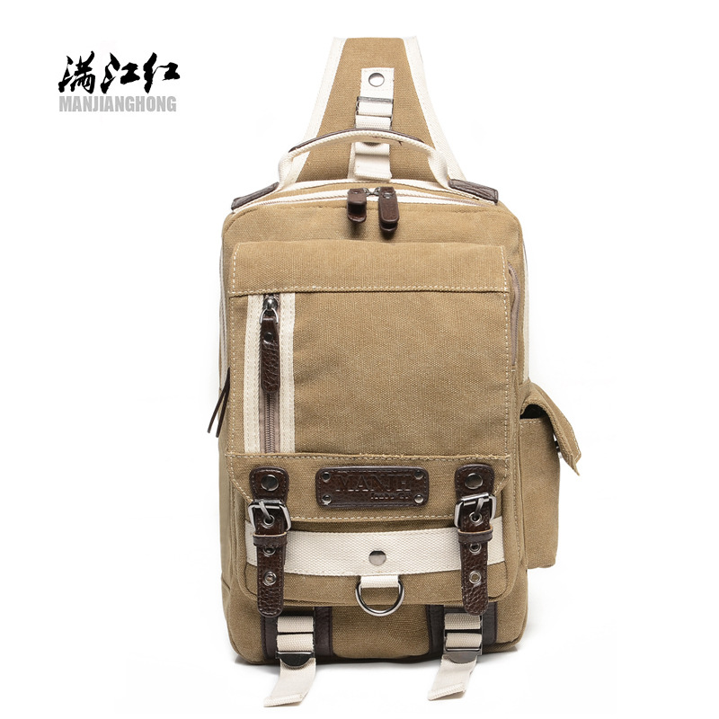 2018 new canvas bag leisure men's chest single-shoulder portable fashion multi-zip men's bags wholesale manufacturers 2
