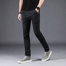 Vyriški džinsai Stretch Pants Vasaros markės džinsai Vyrai Klasikiniai Straight Stretch juodi patogūs kelnės