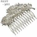 Cristalino de la nueva Retro plumas de pavo real del peine del pelo de la boda moda nupcial plateado para mujeres accesorios para el cabello