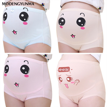 Belly Support Pregnant Women Underwear High Waist Cartoon Face Pattern Panties Breathable Cotton Adjustable Maternity Underwear