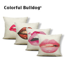 Personalized Sexy Lip Pillow Set Red Pink Black Orange Purple Blue Cherry Beard Decoration Home Sofa Bed Cushion Cover 45*45(China)