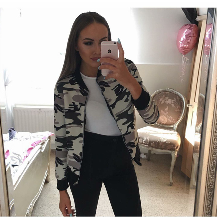 643ce75ff US $12.6  New!Spring/Auturm New Thin Overcoat Camouflage Floral Print  Casual Slim Women Basic Coat Zipper Bomber Jacket Outfit-in Basic Jackets  from ...