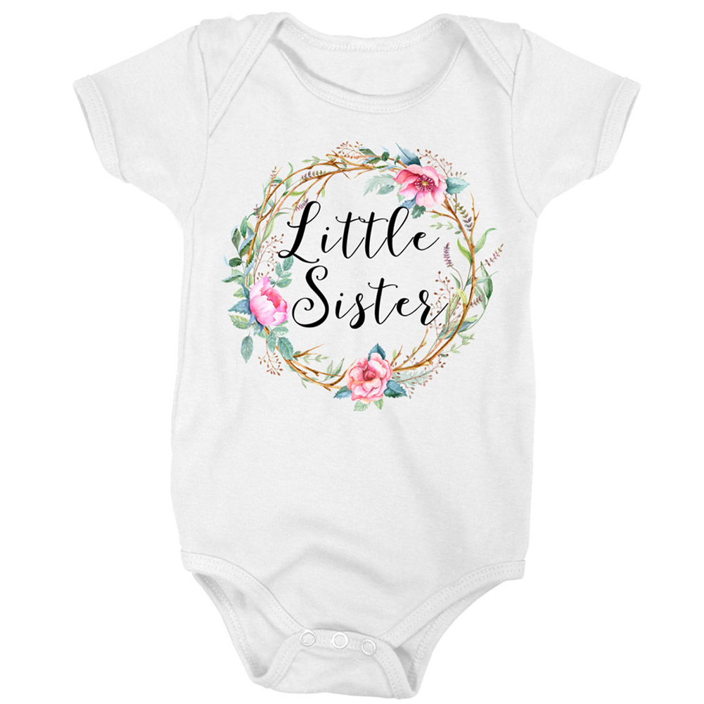 Family Clothes Fashion Floral Printing Big Sister Short Sleeve T shirt Litter Sister Romper Lovely Clothes 1 in Matching Family Outfits from Mother Kids