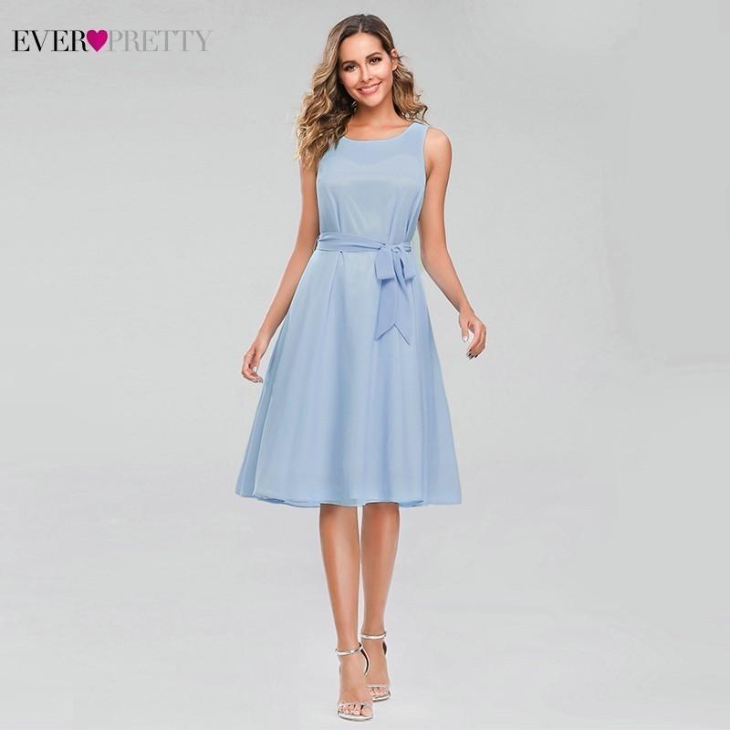 Vestidos Fiesta Boda Ever Pretty Blue Bridesmaid Dresses A-Line O-Neck Sleeveless Bow Sashes Short Wedding Guest Dresses 2020