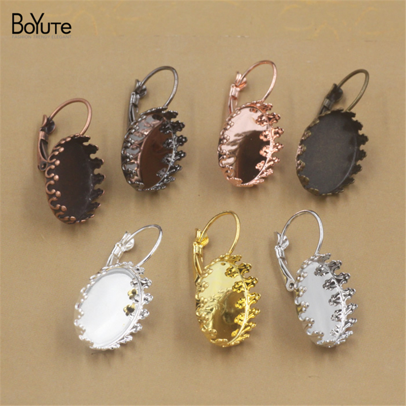 BoYuTe 20Pcs 7 Colors Oval 13*18MM Cabochon Base Setting Blank Tray Accessories Earrings Jewelry Findings Components