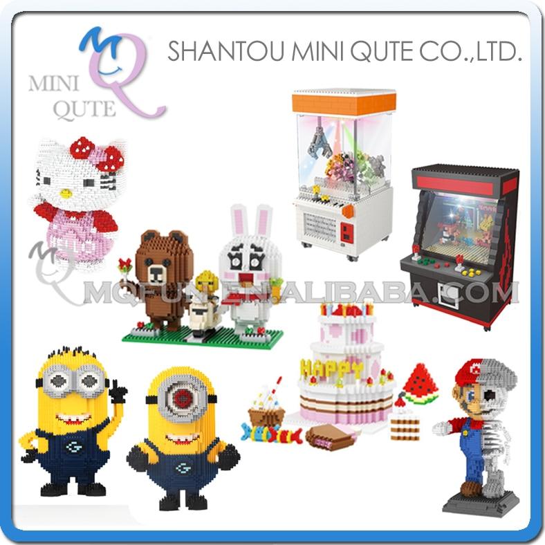 Мини Qute zrk мультфильм Hello Kitty <font><b>LED</b></font> кран игры с днем рождения набор Марио игровой автомат пластиковые блоки образовательные игрушки