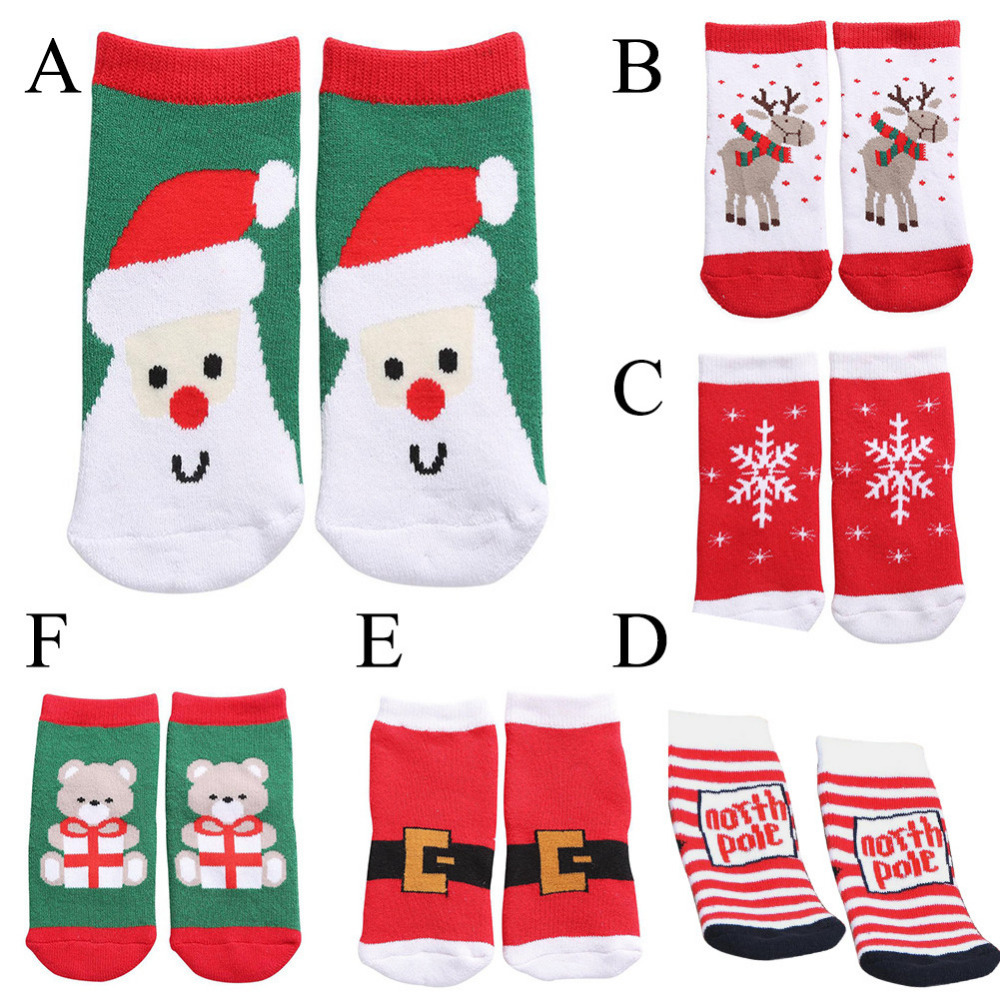 Cute Kids Cotton Sock Pile Thickened Cartoon Baby Socks Children Christmas Breathe Socks For 1-3 Years Child Wear Autumn Winter