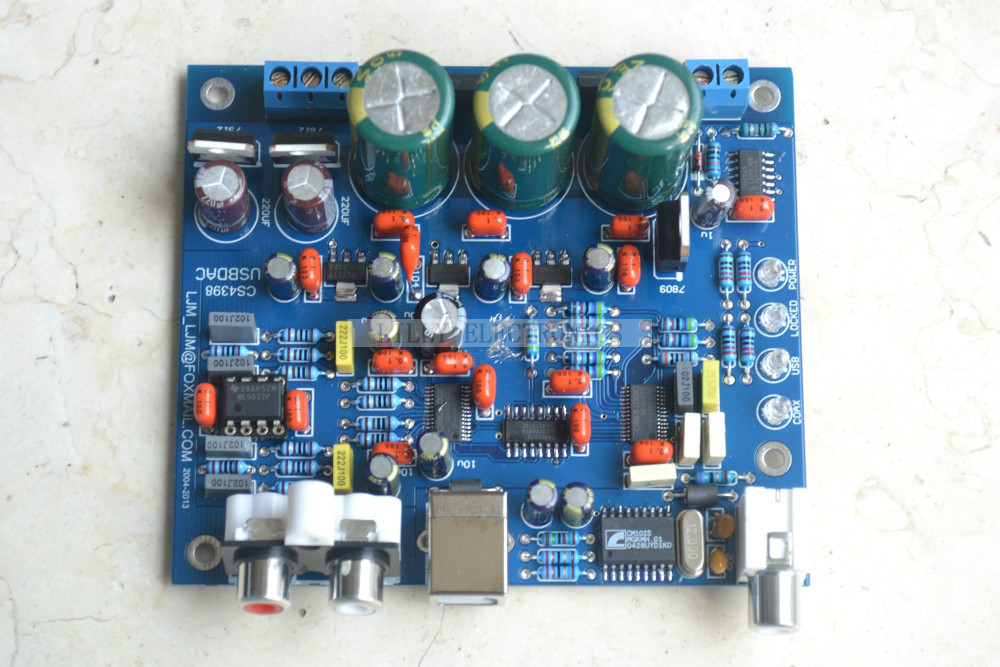 Finish Board CS8416+CS4398 DAC board ( USB + coaxial DAC 192K/24BIT Board ) hot sale dac board optical fiber coaxial usb dac decoding amp board