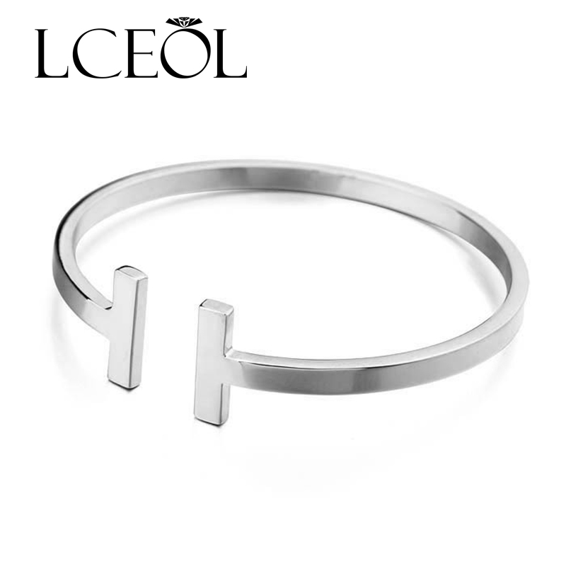 LCEOL New Fine Bracelet Silver/Gold Colour Smooth Surface T Opening Adjustable Bracelets&Bangles For Women