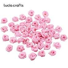 Lucia artesanato 50-144 pçs/saco 10mm cetim flor cabeça meninas cabelo arco headwear diy vestuário artesanato b0103